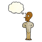 Cartoon evil bald man with thought bubble Stock Photos
