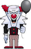Cartoon Evil Clown. A cartoon illustration of an evil looking clown with a balloon Royalty Free Stock Images