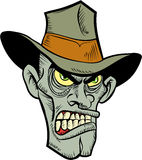 Cartoon evil cowboy zombie head. Isolated on white Royalty Free Stock Images