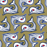 Cartoon evil fish background. Pattern Stock Images