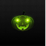 Cartoon evil Halloween pumpkin of green color with glowing eyes. Green eyes glow in the dark. Isolated on a transparent background Stock Image