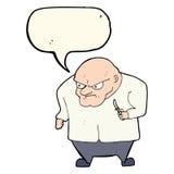 Cartoon evil man with speech bubble Royalty Free Stock Photo