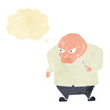 Cartoon evil man with thought bubble Royalty Free Stock Photography