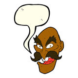 Cartoon evil old man face with speech bubble Stock Photography
