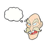 Cartoon evil old man face with speech bubble Royalty Free Stock Photography