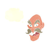 Cartoon evil old man face with speech bubble Royalty Free Stock Images