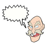 Cartoon evil old man face with thought bubble Stock Images