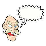 Cartoon evil old man face with thought bubble Stock Photo