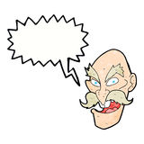 Cartoon evil old man face with thought bubble Royalty Free Stock Photography