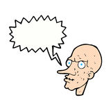 Cartoon evil old man with speech bubble Royalty Free Stock Images