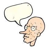 Cartoon evil old man with speech bubble Royalty Free Stock Photo