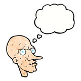 Cartoon evil old man with thought bubble Royalty Free Stock Photography