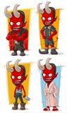 Cartoon evil red devil with big horns characters vector set Royalty Free Stock Images