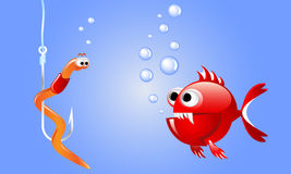 Cartoon evil red fish looking at a worm on a fishing hook underwater with bubbles. Stock Photos