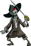Cartoon evil zombie pirate. Isolated on white Royalty Free Stock Image