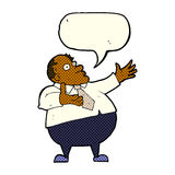 Cartoon exasperated middle aged man with speech bubble Royalty Free Stock Photography