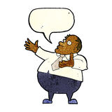 Cartoon exasperated middle aged man with speech bubble Royalty Free Stock Photo