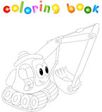 Cartoon excavator. Coloring book for kids Royalty Free Stock Photos