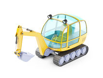 Cartoon excavator 3d. Cartoon excavator isolated on white. 3d illustration Stock Image