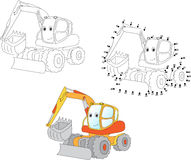 Cartoon excavator. Vector illustration. Coloring and dot to dot Royalty Free Stock Images