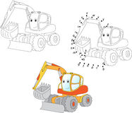 Cartoon excavator. Vector illustration. Coloring and dot to dot. Educational game for kids Stock Photography