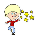 Cartoon excited boy Stock Photography