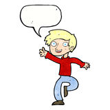 Cartoon excited boy dancing with speech bubble Royalty Free Stock Photography