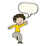 Cartoon excited boy dancing with speech bubble Royalty Free Stock Image