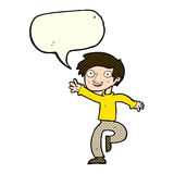 cartoon excited boy dancing with speech bubble Stock Photos