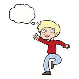 cartoon excited boy dancing with thought bubble Royalty Free Stock Photography