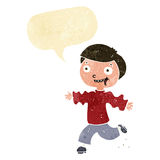 Cartoon excited boy with speech bubble Stock Image