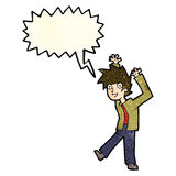 Cartoon excited boy with speech bubble Royalty Free Stock Images