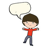 Cartoon excited boy with speech bubble Royalty Free Stock Photography