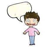 Cartoon excited boy with speech bubble Stock Photos