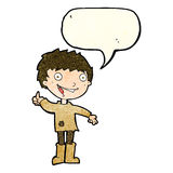 Cartoon excited boy with speech bubble Royalty Free Stock Photo
