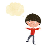 Cartoon excited boy with thought bubble Stock Images