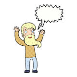 cartoon excited man with beard with speech bubble Stock Photos