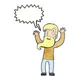 cartoon excited man with beard with speech bubble Royalty Free Stock Photos