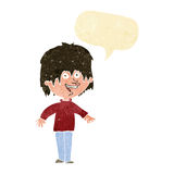 Cartoon excited man with speech bubble Royalty Free Stock Photos