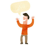 Cartoon excited man with speech bubble Royalty Free Stock Photo