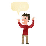 Cartoon excited man with speech bubble Stock Images