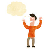 Cartoon excited man with thought bubble Royalty Free Stock Images