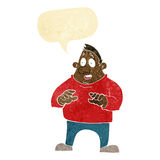 Cartoon excited overweight man with speech bubble Royalty Free Stock Image