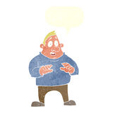 Cartoon excited overweight man with speech bubble Royalty Free Stock Images