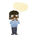 Cartoon excited person with speech bubble Royalty Free Stock Photography