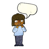 Cartoon excited person with speech bubble Royalty Free Stock Images