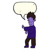 Cartoon excited vampire with speech bubble Royalty Free Stock Photos
