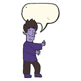 Cartoon excited vampire with speech bubble Stock Photo