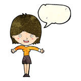 Cartoon excited woman with speech bubble Royalty Free Stock Photography