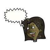 Cartoon excited woman with speech bubble Stock Images